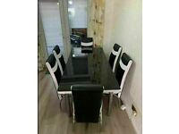 🚚🚚BRAND NEW DESIGNER STYLE EXTENDABLE DINING TABLE WITH 4 OR 6 FAUX LEATHER CHAIRS 🔥🔥