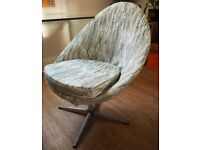 vintage mid century 1960s/70s swivel egg chair