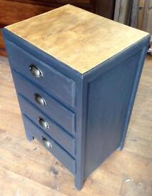Industrial chic 4 drawer chest/side table Upcycled