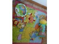 Bundle Baby Toys Jungle Playmat Cot Activity Nighlight Rattles Tummy Cushion