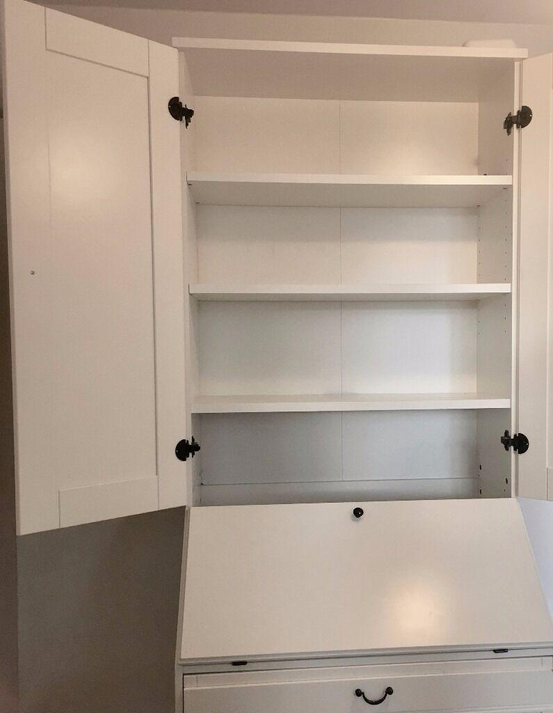 top white ikea hemnes bureau computer desk with add on unit with sngkappa 55 cm - Ikea Hemnes Bureau