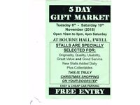 5 Day Gift Market 6th - 10th November 2018 at Bourne Hall kt17 1uf