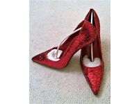 NEW Fashion Flair Design Red Glitter Court Shoes Size 41 (8) Style Dorothy Accessories PROM Shoes