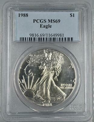 1988 American Silver Eagle PCGS MS69 Blast White Beauty