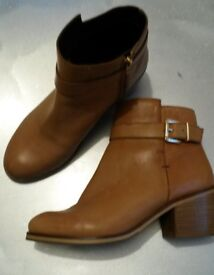 BE YOU TAN LEATHER ANKLE BOOTS SIZE 5 (39) Worn Once VGC