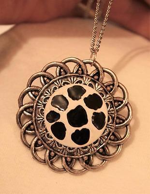 f1dd53fa56a Striking Loop Rimmed Black & White Soccer Ball Round Silvertne Pendant  Necklace