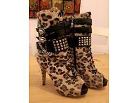Abbey Dawn by Avril Lavigne Leopard Platform Bootie Heels Size 7
