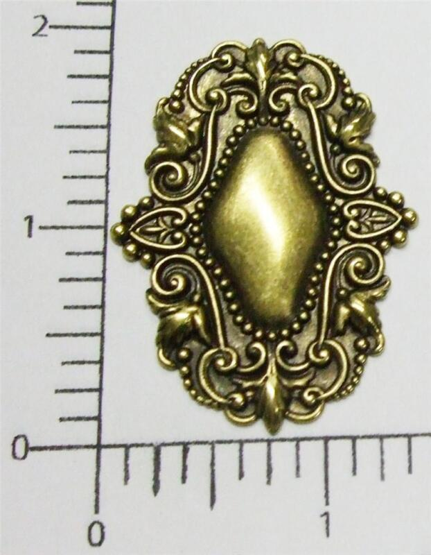 13513           Brass Oxidized Victorian Tag Jewelry Finding