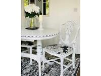 White Shabby Chic Dinning table ~ 4 Chairs