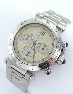 CARTIER PASHA CHRONOGRAPH 1 1/2in MEN'S WATCH STEEL Ref.R4030