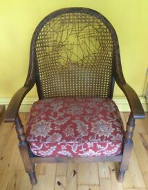 Mid Century wicker back chair in need of restoration