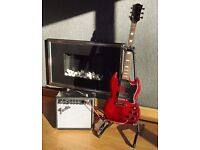 Westfield electric guitar and Fender amp