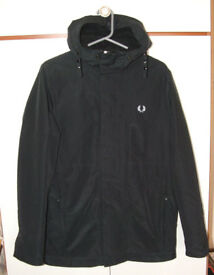 Fred Perry mens black hooded coat/jacket – Size S – worn a few times but great condition (cost £180)