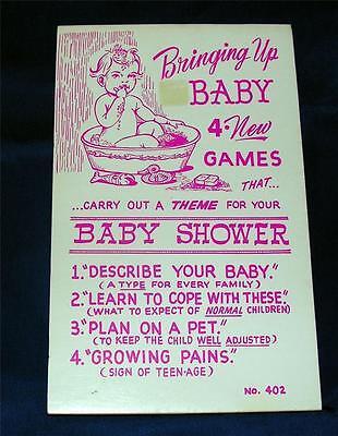 Vtg 1966 Baby Dusche Buch Pad 4 Spiele mit Laken für 16 Spieler Bringen Up Baby (Spiele Für Baby-dusche)