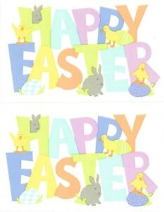 Mrs Grossman Sticker - Adorable HAPPY EASTER Words Bunny Chick Eggs