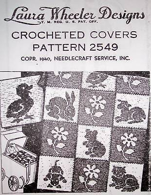 - 2549 Vintage LW Filet CRIB/CARRIAGE SET Pattern to Crochet (Reproduction)