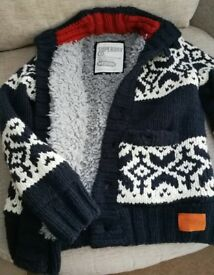 Superdry Men thick chunky knit Cardigan/Jacket