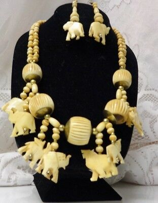 Vtg Haute Couture Runway Fashion African Safari Beaded Chunky Briolette Necklace