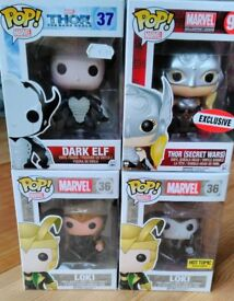 Funko Pop Vinyl Figures - Marvel Thor, Loki, Dark Elf Collectable, Exclusives