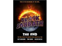 2 x Black Sabbath Final Tour Tickets - Thursday 2nd Feb 2017