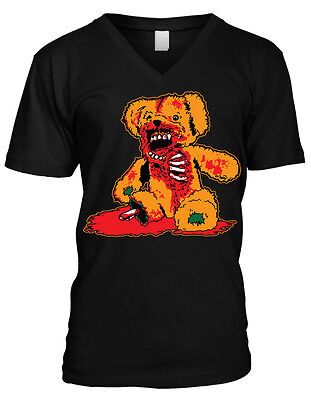 Zombie Teddy Bear- Halloween Scary Bloody Gory  Mens V-neck - Scary Teddy Bear Halloween