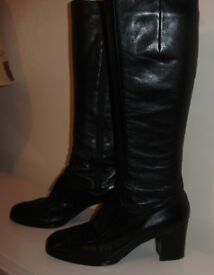 Bally black leather boots Size 6½