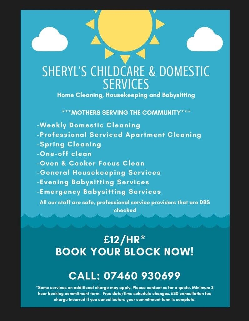 Sheryl's Childcare & Domestic Services, House Cleaning, Housekeeping, Babysitting Mums Community*