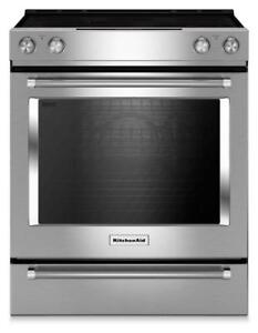 KitchenAid YKSEB900ESS Electric Range, 30 inch, Self Clean, Convection, 5 Glass Burners  Oven Drawer, 7.1 cubic ft