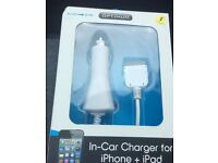 In-car charger for iPhone 4 and equilavent iPad and iPod. Unused gift completely new condition