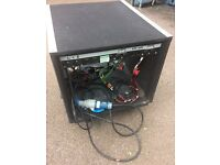Wheeled amp rack with patch panel and 4 way power sockets