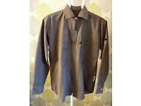 VERSACE JEANS COUTURE:NEW DESIGNER MENS CASUAL SHIRT ZIP FRONT BROWN/GREY:SIZE MEDIUM CHEST 44