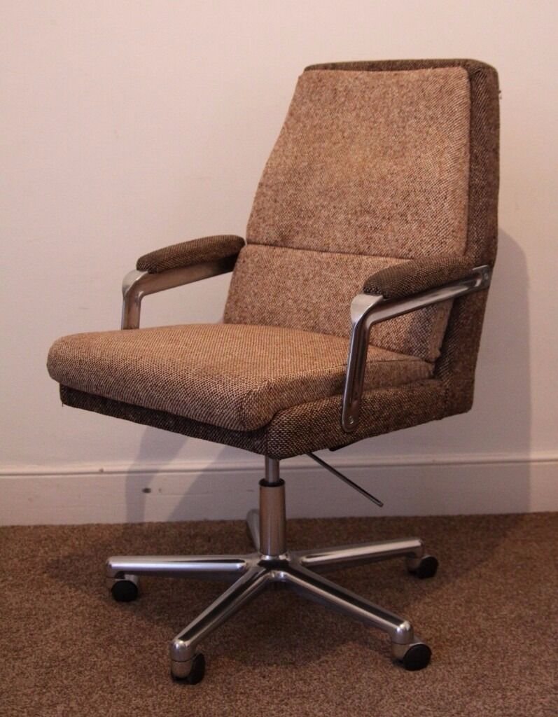 Super Comfy Retro Mid Century 70s Swivel Tilt Office Chair Polished Aluminium