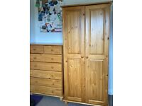 ** SOLID PINE WARDROBE & CHEST OF DRAWERS FOR SALE **
