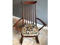 Vintage ERCOL Goldsmith Windsor Rocking Chair & Cushion