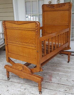 Antique Tiger Oak Baby Cradle