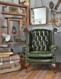 Chesterfield Vintage Leather Wing Back Armchair Green