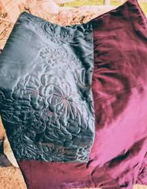 Teal and Purple embroidered king size throw