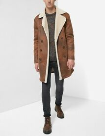 MENS Stradivarius Double faced jacket coat faux suede shearling zara large, extra large S M L