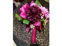 Bridal bridesmaid bouquet pinks Diamanté brooch