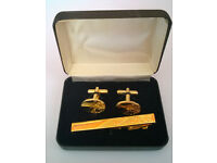 vintage gold plated cufflinks and tie pin set