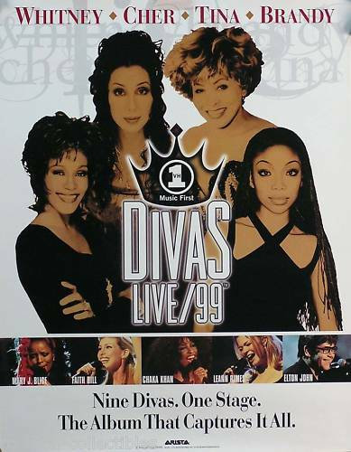 Divas Live 1999 Cher Tina Turner Whitney Houston Original Promo Poster
