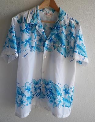 VTG 60s 70s Blue White Hibiscus Hawaiian Shirt Surf Hawaiian Orchid Fashions M