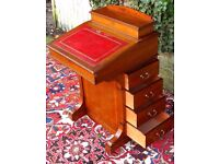 ANTIQUE VICTORIAN INLAID MAHOGANY DAVENPORT LADIES WRITING DESK STAMPED MAPLES & CO LONDON NICE DESK