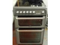 Hotpoint 60 cm wide double oven and grill electric ceramic cooker in grey colour