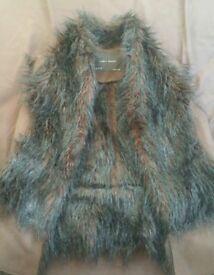 Zara fur waistcoat size M brown