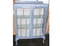 Shabby Chic Bow Front Display Cabinet - Queen Ann legs