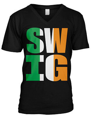 SWIG SWAG Alcohol Drunk Irish Flag Funny St Patrick's Mens V-neck T-shirt - Patrick Swag