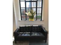 Dark Brown Leather Sofa - 2 Seater