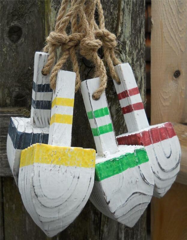 4 Wood Lobster Style Buoys Buoy Nautical Beach Decor Seaside Pool Fishing Patio
