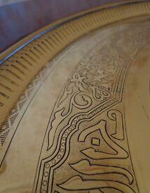 Solid Mahogany - Tilt & Turn Table - Egyptian brass inlay - Archer & Smith